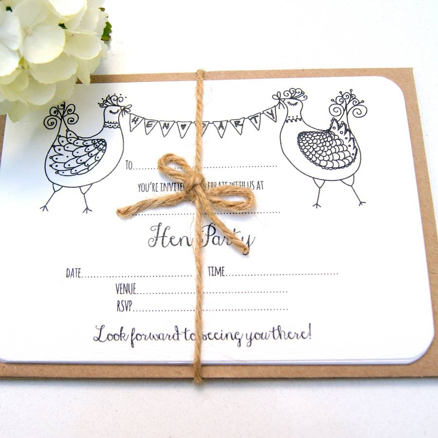 hen party invitations, five pack by the hummingbird card company ...