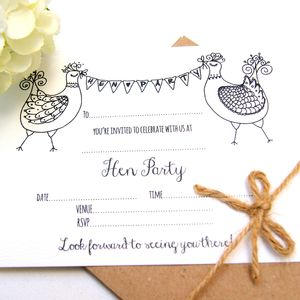Hen Party Invitations, Five Pack