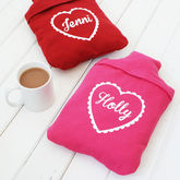 Personalised Heart Hot Water Bottle Cover - health & beauty