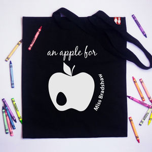 Personalised 'An Apple For' Teachers Tote Bag - gifts for teachers