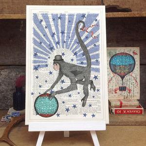 Circus Monkey Antique Book Page Art Print