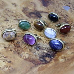 Oval Gemstone Antique Gold Cufflinks - cufflinks