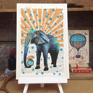 'Circus Elephant' Antique Book Page Art Print - home accessories