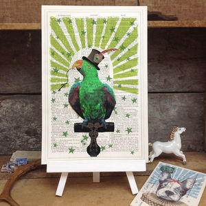 'Circus Parrot' Vintage Dictionary Page Art Print - shop by price