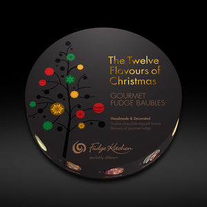 12 Flavours Of Christmas Fudge Baubles