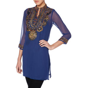 Hand Beaded High Collar Tunic - tops & t-shirts