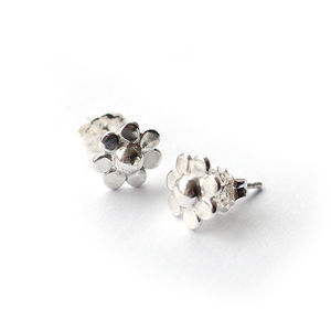 Shiny Silver Flower Studs