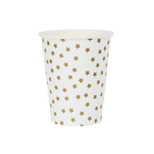 Eight Gold Stars Paper Cups