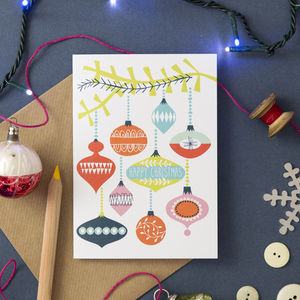 'Retro Bauble' Christmas Card - summer sale