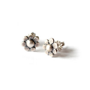 Satin Silver Flower Studs - earrings
