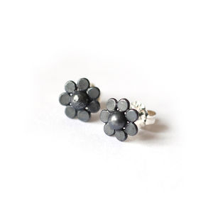 Black Silver Flower Studs - earrings