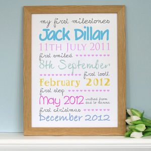 Personalised 'First Milestones' Print - canvas prints & art for children