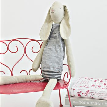 Vintage Style Tall Linen Boy Rabbit