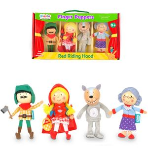 Set Of Red Riding Hood Wooden Finger Puppets - pretend play & dressing up