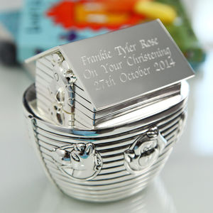 Silver Engraved Noah's Ark Money Box - children's room accessories