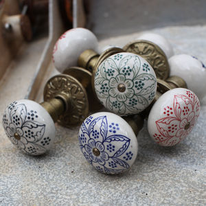 Hand Painted Ceramic Door Handles - door knobs & handles