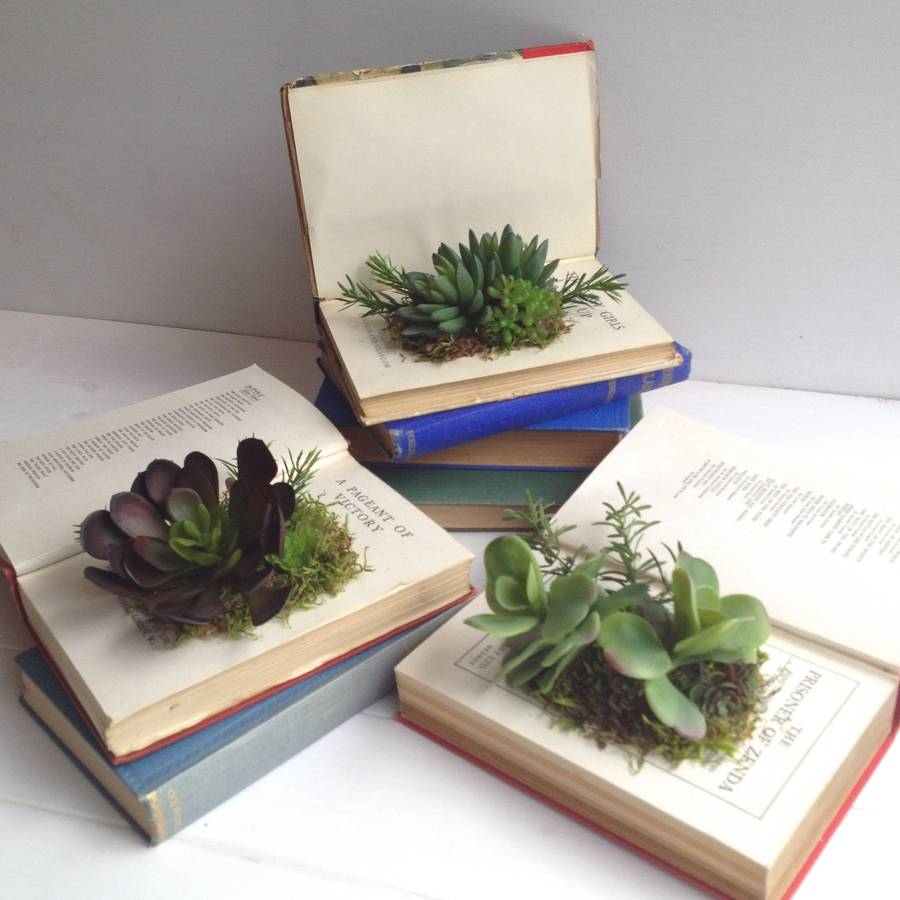 Beautiful artificial succulents in vintage book planter by beaux faux  QB78
