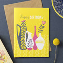 'Retro Vase' Birthday Card