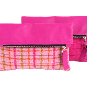 Harris Tweed And Pink Leather Clutch