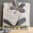Decorative Mosaic Flower Tile With Green Glass