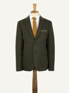 Men's Green Herringbone Jacket - coats & jackets
