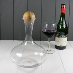 Red Wine Carafe With Oak Stopper - drink & barware