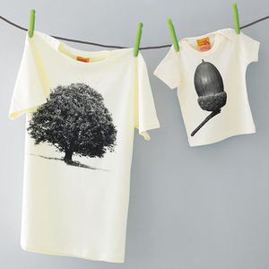 Matching T Shirts Oak Acorn Set Dad And Son / Daughter - babies' dad & me sets