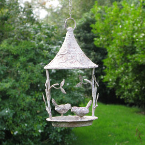 Hanging Bird Feeder In Aged Finish
