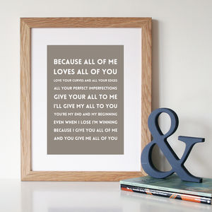 'All Of Me' Song Lyric Art Print - view all sale items