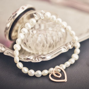 Eternal Heart Rose Gold Pearl Bracelet - bracelets & bangles