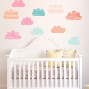 Pastel Clouds Wall Stickers - children's room accessories