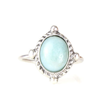 Large Sterling Silver Pastel Amazonite Ring