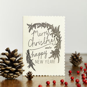 Merry Christmas And New Year Wreath Card