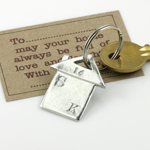 Personalised Pewter 'New Home' Keyring - womens