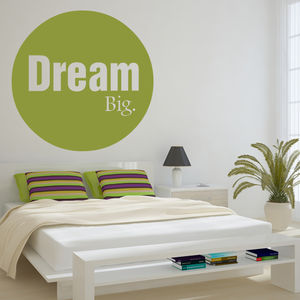 Bold Circle 'Dream Big' Wall Sticker - bedroom