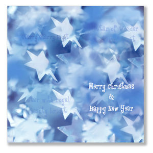 Blue Stars Christmas Cards Pack Of 10
