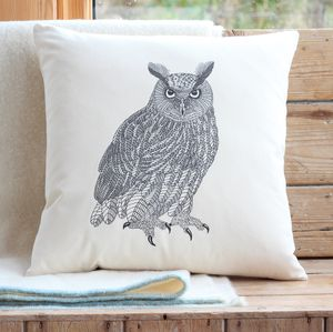 Eagle Owl Cushion Cover With Inner Option