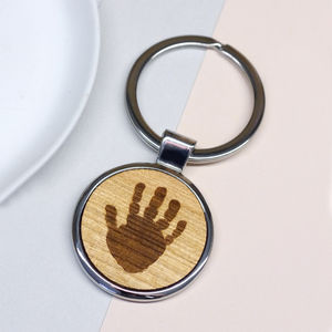 Personalised Wooden Handprint Keyring - first father's day