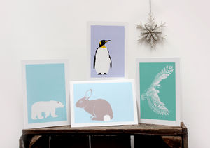 Set Of Four Wintery Scandinavian Style Cards