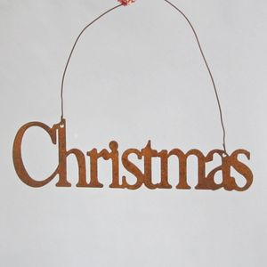 Rusty Christmas Hanging Sign - decorative accessories