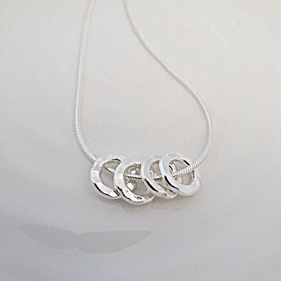 40th birthday four silver rings necklace by jones