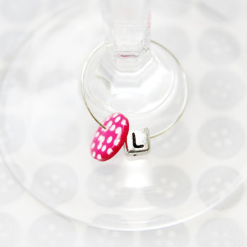 Personalised Wine Button Charms