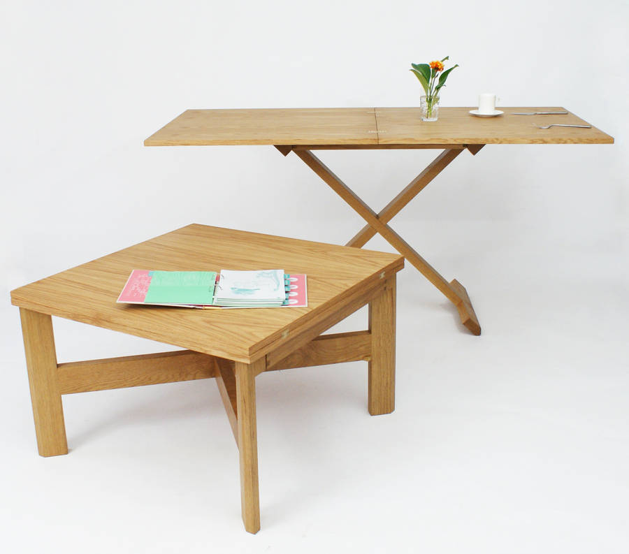 Oak Convertable Eco Coffee Table To Dining Table By