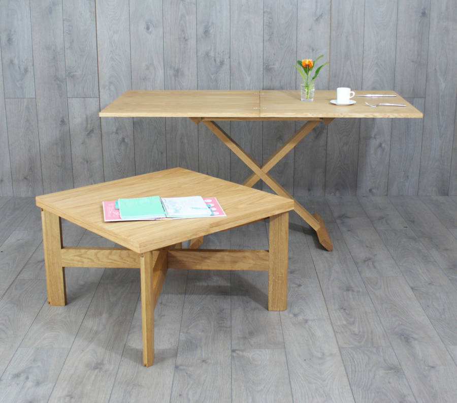 Oak Convertable Eco Coffee Table To Dining Table