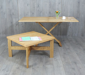 Oak Convertable Eco Coffee Table To Dining Tables
