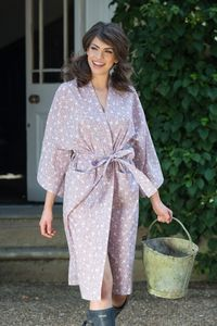 Cotton Kimono Dressing Gown Dusky Pink Swallows