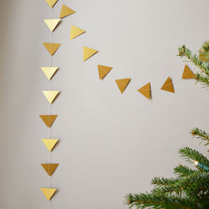 Metallic Gold Or Copper Triangles Paper Garland - garlands & bunting