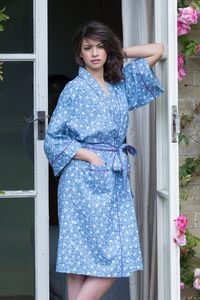 Cotton Kimono Dressing Gown French Blue Swallows - women's fashion sale