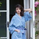 Cotton Kimono Dressing Gown French Blue Swallows