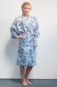 Cotton Kimono Dressing Gown Blue Rosetta - lingerie & nightwear